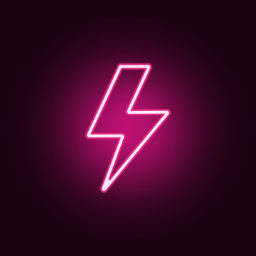 lightning icon. Elements of web in neon style icons. Simple icon for websites, web design, mobile app, info graphics