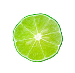Lime isolated on white background top view  - Image