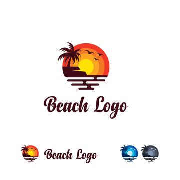 Iconic Beach Logo designs template, Sun and Beach logo template, Travel logo