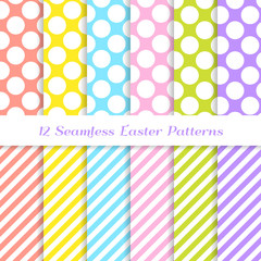 Easter Candy Stripes and Jumbo Polka Dot Vector Seamless Patterns in Coral, Yellow, Pink, Blue, Lime Green, Lavender Violet and White. Repeating Pattern Tile Swatches Included.