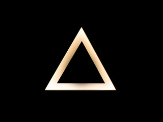Abstract warm gold triangle logo template on black. Delta sign. (lift button)