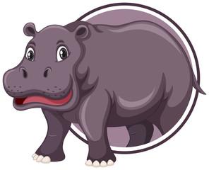 Hippopotamus on sticker template