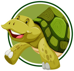 Turtle on sticker template