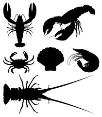 Set of silhouette seafood