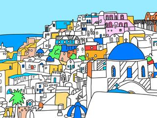 그리스 산토리니 섬 일러스트레이션