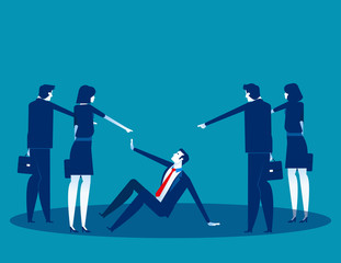 Business people pointing to penalty in the team. Concept business vector, Teamwork, Blaming, Bullying.