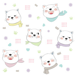 Cute cat seamless pattern hand drawn style