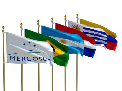 MERCOSUR flag Isolated  Silk waving flags MERCOSUR Brazil Argentina Paraguay Uruguay Venezuela five members  with a flagpole on a white background 3D illustration