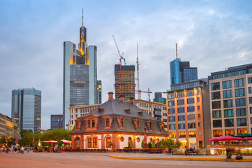 Wall Mural - Evening Frankfurt cityscape, illuminated street