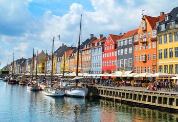 Nyhavn embankment daytime, Copenhagen, Denmark