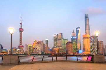 Wall Mural - Modern illuminated Shanghai skyline