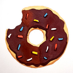 watercolor isllutration of chocolate donut