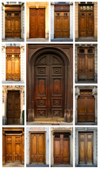 Collage of colorful doors in Lyon in France