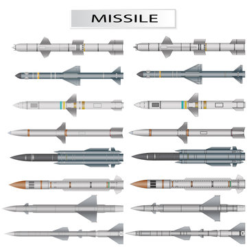 Set of missiles and ballistic rocket warhead isolated on white background, vector illustration eps10