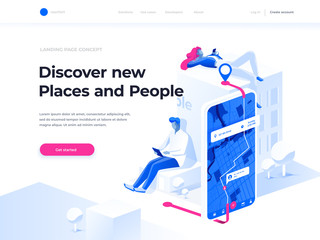 Navigation app with map and location pin. GPS and Tracking Mobile Applications Concept. People chat and explore the route using smartphones. Isometric illustration. Augmented reality concept. Wall mural