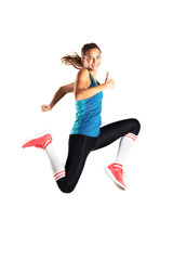 happy fit runner girl jumping