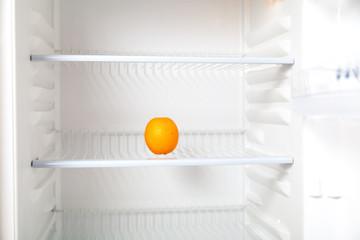 Orange lies in empty refrigerator.