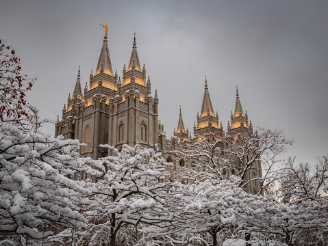 The LDS Temple in Salt Lake City after a snow storm