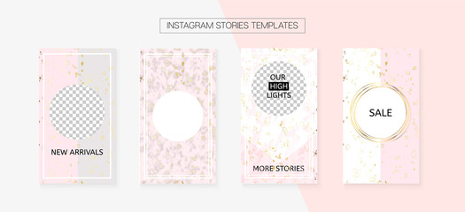Instagram Stories Cool Vector Layout. Invitation Phone Design Pack. Social Media Blogger Frame Set. Trendy App Kit, Pink White Gold Elegant Geometric Marble Patterns. Instagram Stories VIP Layout