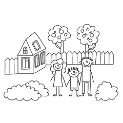 Happy family with children. Kids drawing style vector illustration. Mother, father, sister, brother.
