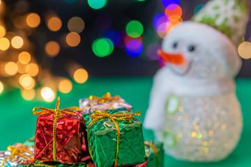 クリスマスイメージ イルミネーション LED 玉ボケ 雪だるま プレゼント