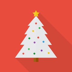 Christmas tree icon in flat style with long shadow, isolated vector illustration on red transparent background