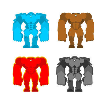 Golem set. Mud and Ice. Stone in fire. Four forces Fantastic Magic Big Monster