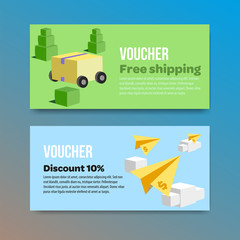Voucher set of two promotions. Vector illustrations flat