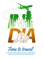 India famous landmark silhouette style inside text,national flag color green and orange design