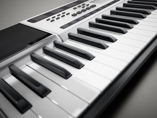 Contemporary, generic design music keyboard. 3D illustration