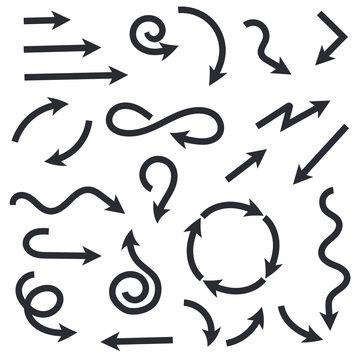 Black wavy arrows set. Flat web icons