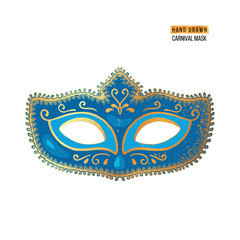 Hand drawn Venetian carnival mask