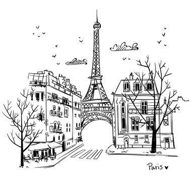 Streets of Paris sketch, vector illustration