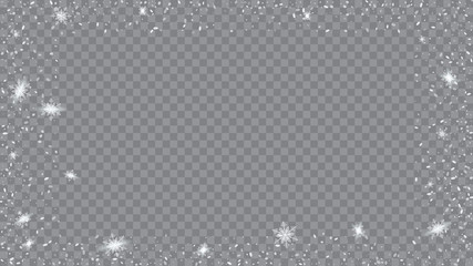 Glitter snowflakes background. Bbright, White, Shimmer, Glowing, Scatter, Falling on a Transparent background. Holiday frame for New Year greetings.