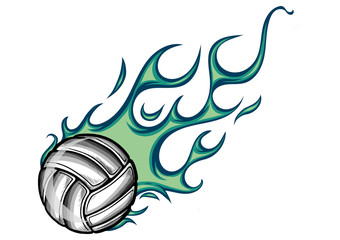 Volleyball Flaming Ball Cartoon