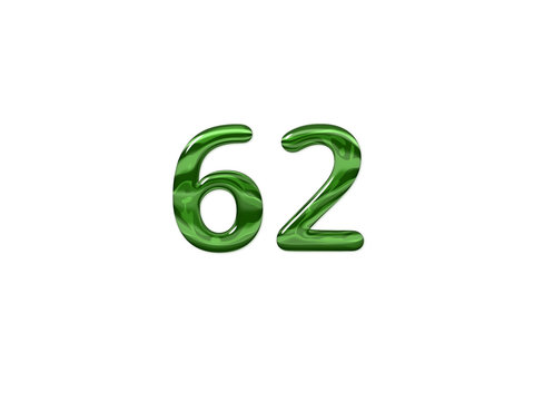 Green Number 62 isolated white background