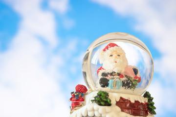Santa in crystal ball, Christmas concept.