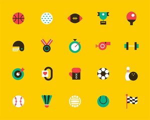 sports icons set. concept illustration. flat design vector graphic style.