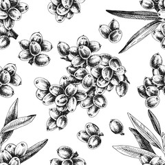 Seamless pattern with hand drawn sea buckthorn branches