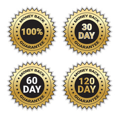 Golden Signs Set Money Back Guarantee Template Stickers Collection Isolated