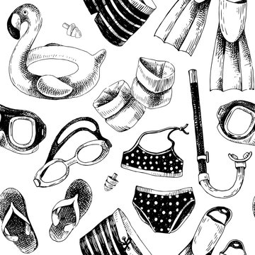 Seamless pattern with swimming accessories