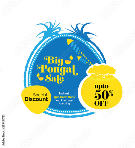 Pongal Sale Sticker, Banner, Label Design with 50% Discount