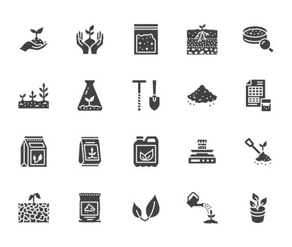 Soil testing flat glyph icons set. Agriculture, planting vector illustrations, hands holding ground with spring, plant fertilizer. Signs for agrology survey. Solid silhouette pixel perfect 64x64