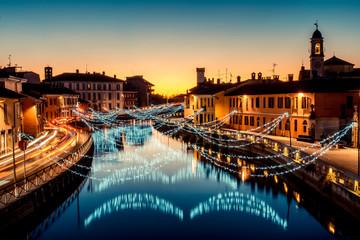 Fotomurales - Christmas lights at Navigli Milano Italy - winter xmas time