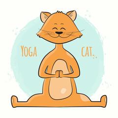 Cute cartoon cat standing in yoga pose