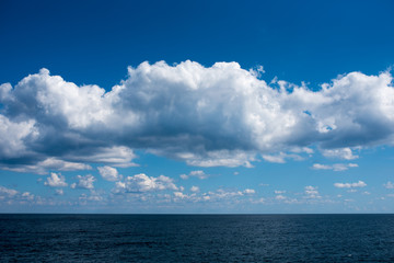 Sea and wonderful clouds. It was photographed on the East Coast of Korea on September 25, 2018. Due to the clear weather, the boundary between the sea and the sky is clear.