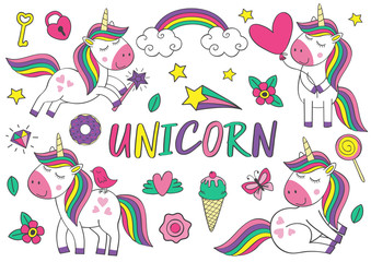 set of isolated cute unicorn and elements   part 1 - vector illustration, eps