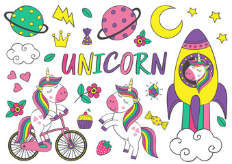 set of isolated cute unicorn and elements part 2 - vector illustration, eps