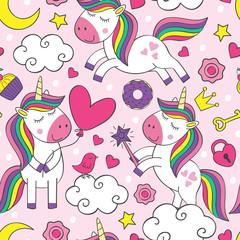seamless pattern with beautiful little unicorns   - vector illustration, eps