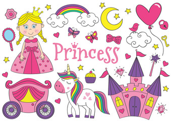 set of isolated cute princess and design elements  - vector illustration, eps